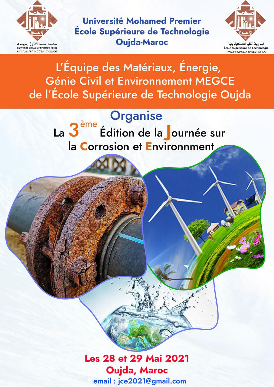 La 3ème Édition de la Journée sur la Corrosion et Environnement les 28 et 29 Mai 2021 à l'EST Oujda