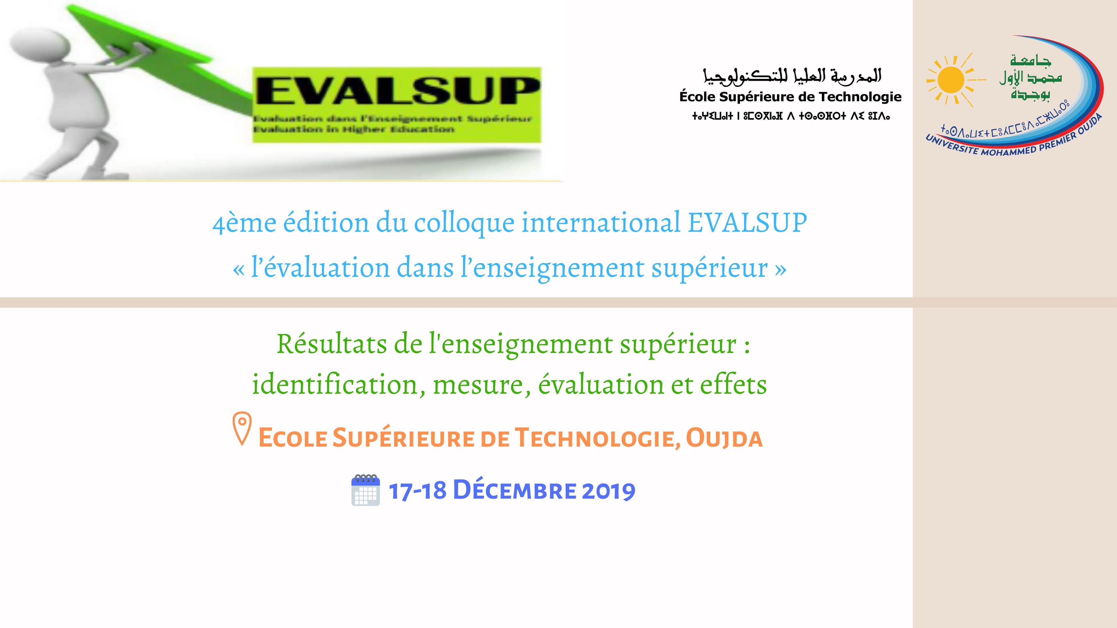 4ème édition du colloque international EVALSUP « l'évaluation dans l'enseignement supérieur »