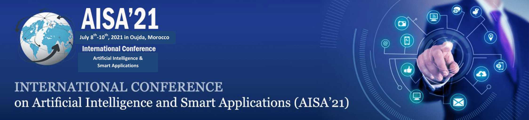 AISA'21 (The first International Conference on Artificial Intelligence and Smart Applications) du 08 au 10 Juillet 2021